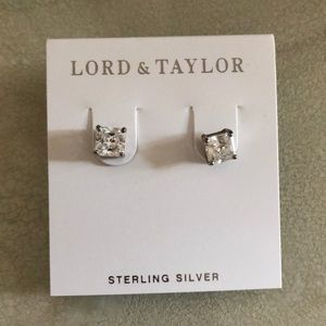 Sterling silver square cubic zirconium earrings